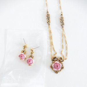 Vintage Avon Pink & Gold Rose Necklace Set